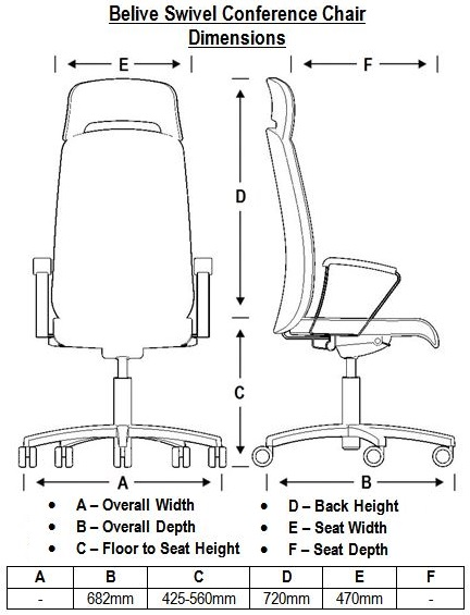 Belive Swivel Conference Chair Dimensions