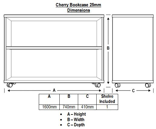 Cherry Bookcase 25mm Dimensions