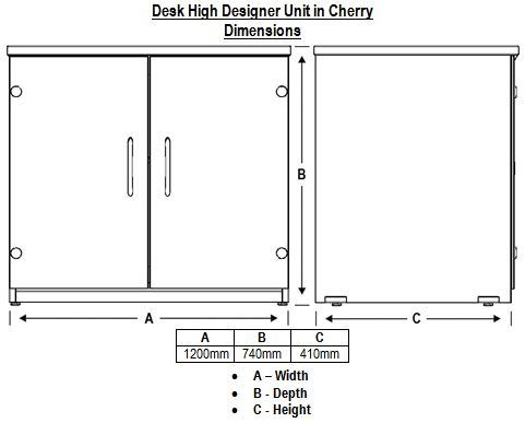 Designer Top Unit Acrylic Doors Cherry 25mm Dimensions